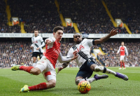 Battling: Both Arsenal's Hector Bellerin and Tottenham's Danny Rose will hope to come out on top in Sunday's North London Derby