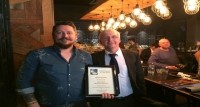 Star honoured: James Hitchin with National Pubwatch's Trevor Pepper
